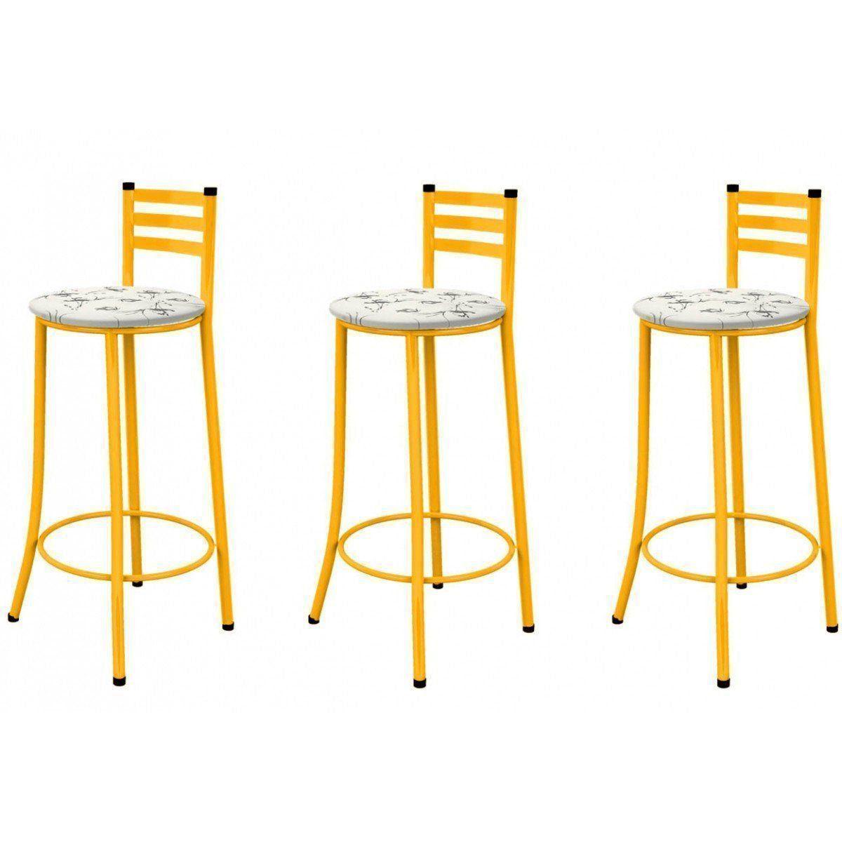 Kit 03 Banquetas Altas com Encosto 86 cm Amarelo - Marcheli