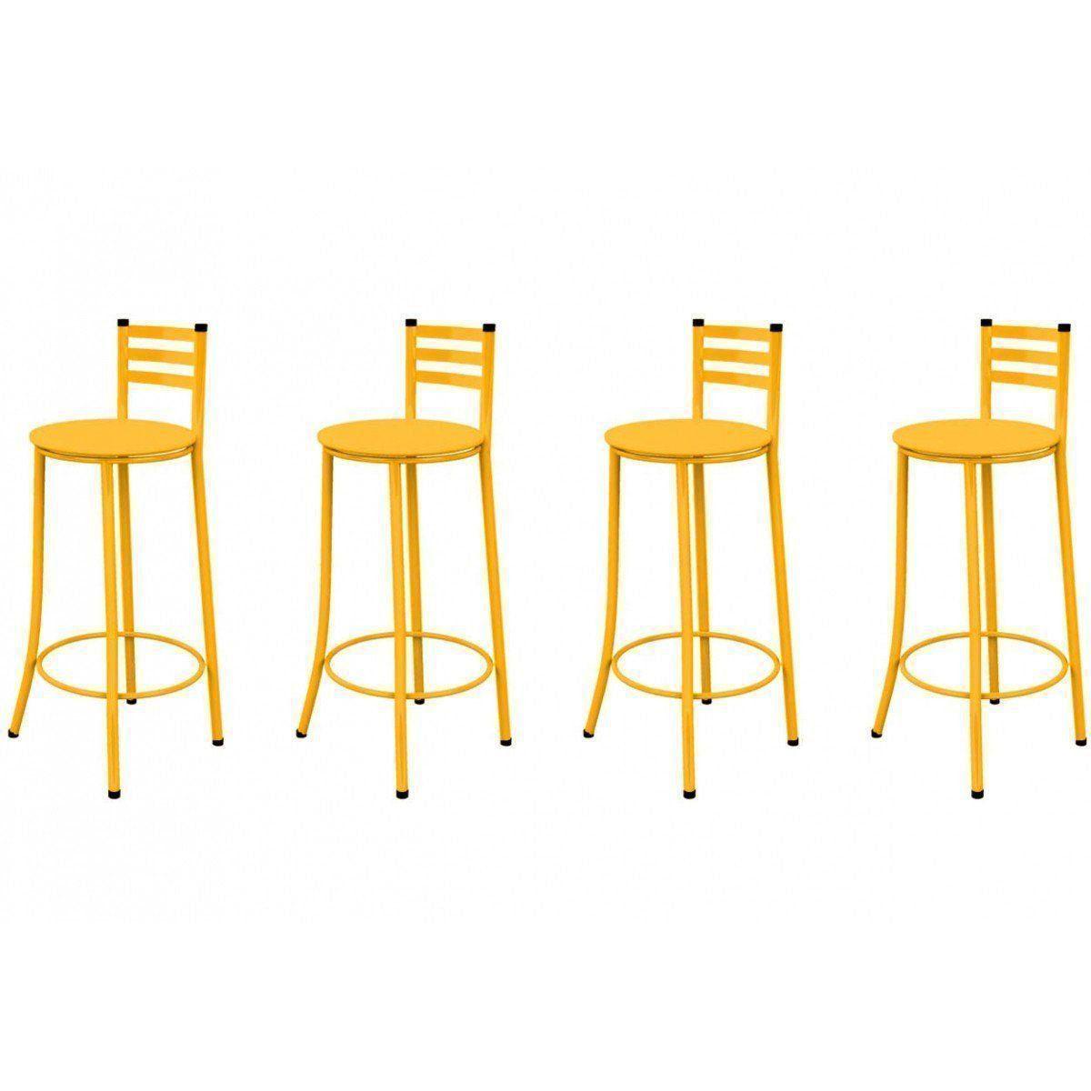 Kit 04 Banquetas Altas com Encosto 86 cm Amarelo - Marcheli