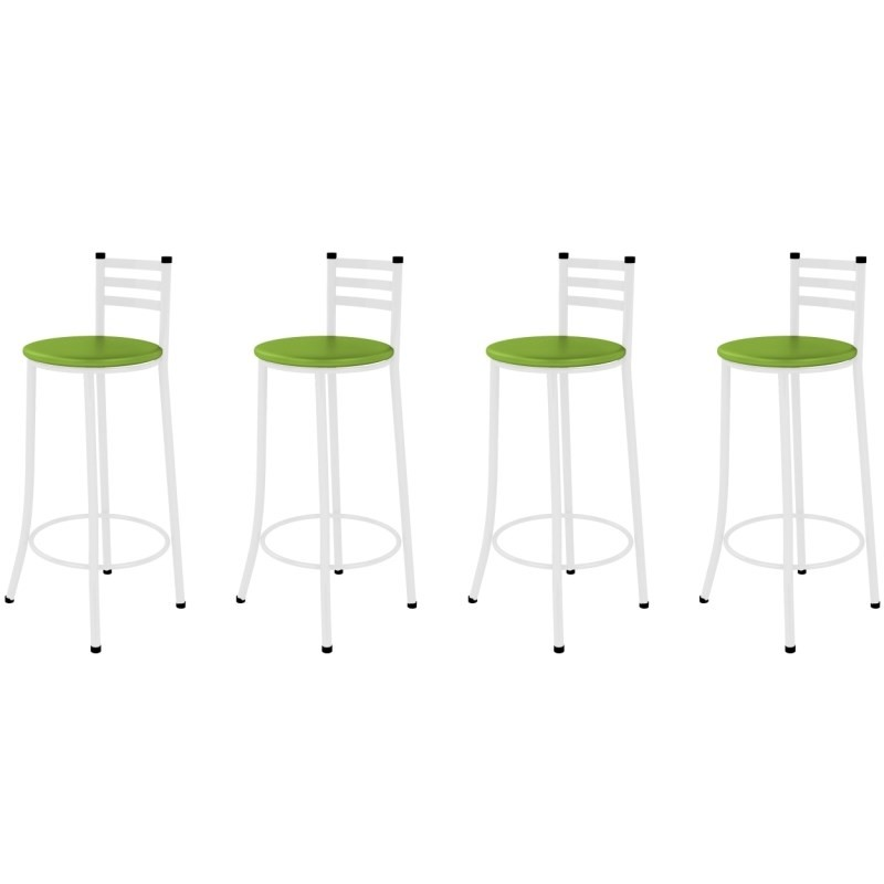 Kit 04 Banquetas Altas com Encosto Branco com Assento Verde - Marcheli