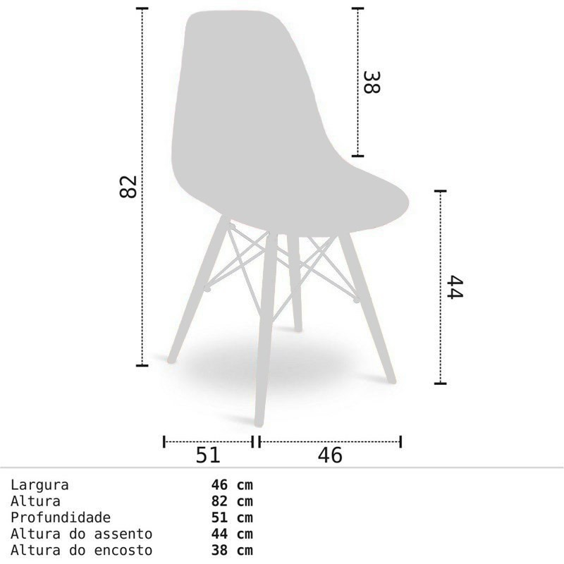 Kit 04 Cadeiras Eiffel Charles Eames Amarela com Base de Madeira DSW