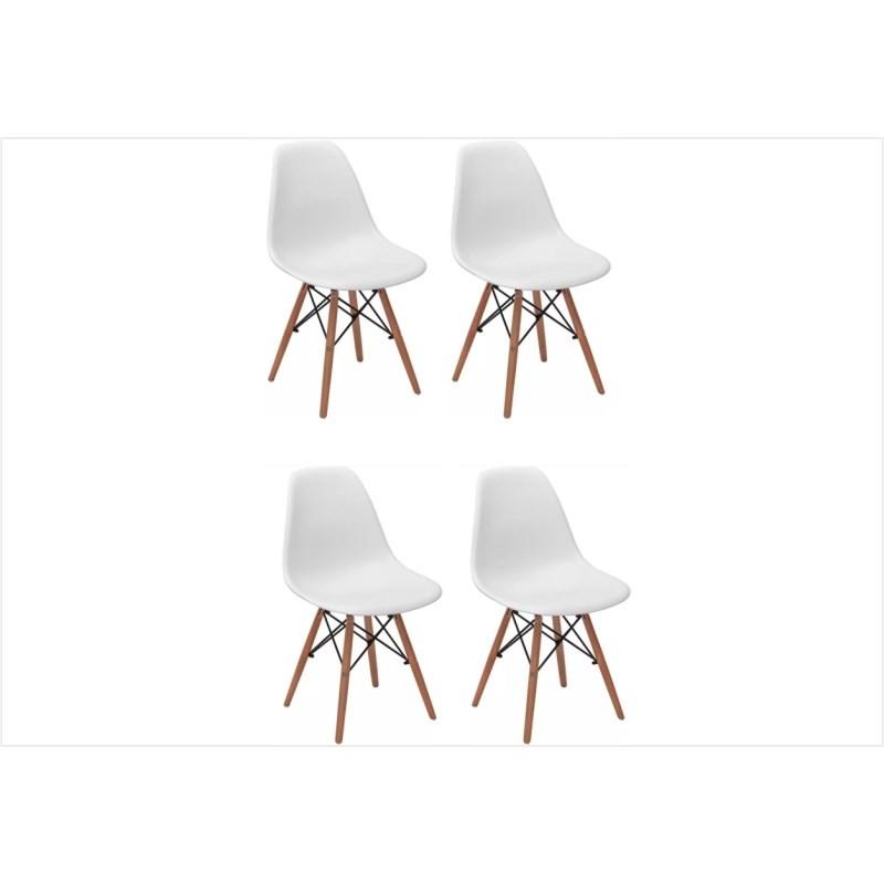 Kit 04 Cadeiras Eiffel Charles Eames Branca com Base de Madeira DSW