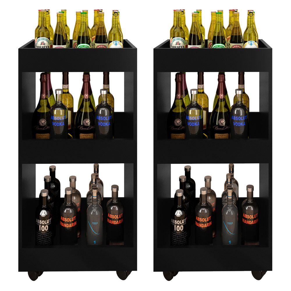 Kit 2 Adegas Bar Multiuso com Rodízios L03 Seul  - Mpozenato