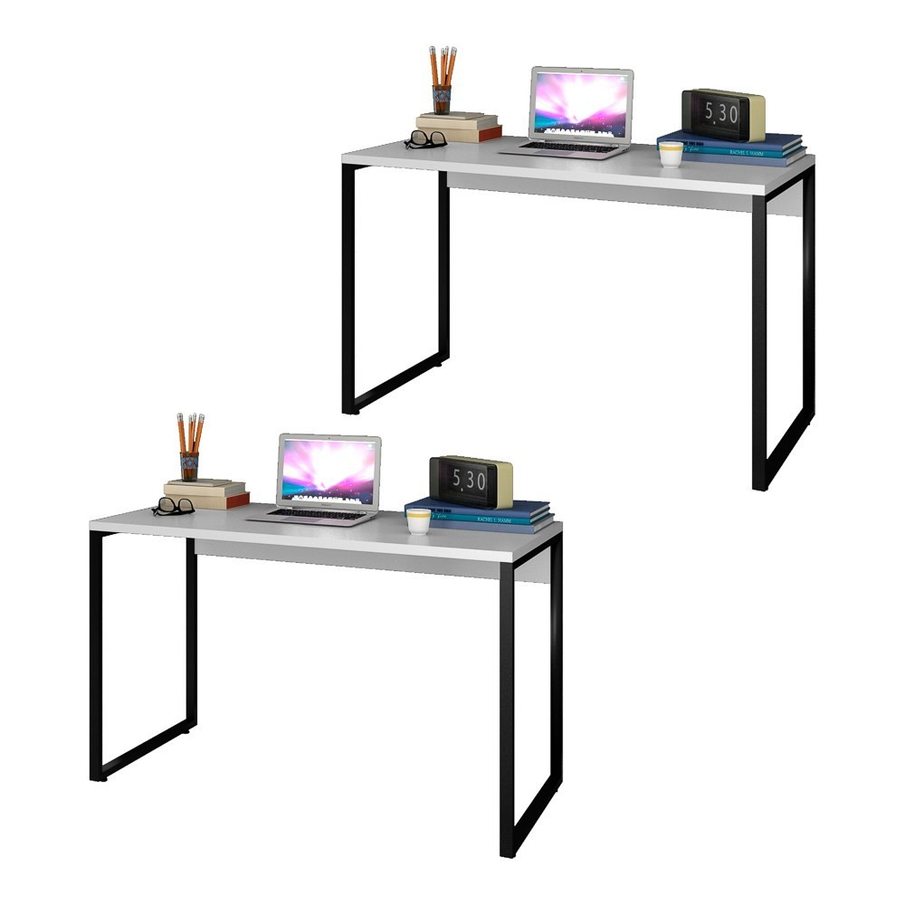 Kit 2 Escrivaninhas Mesas de Escritório Studio Industrial 120 M18 Branco - Mpozenato