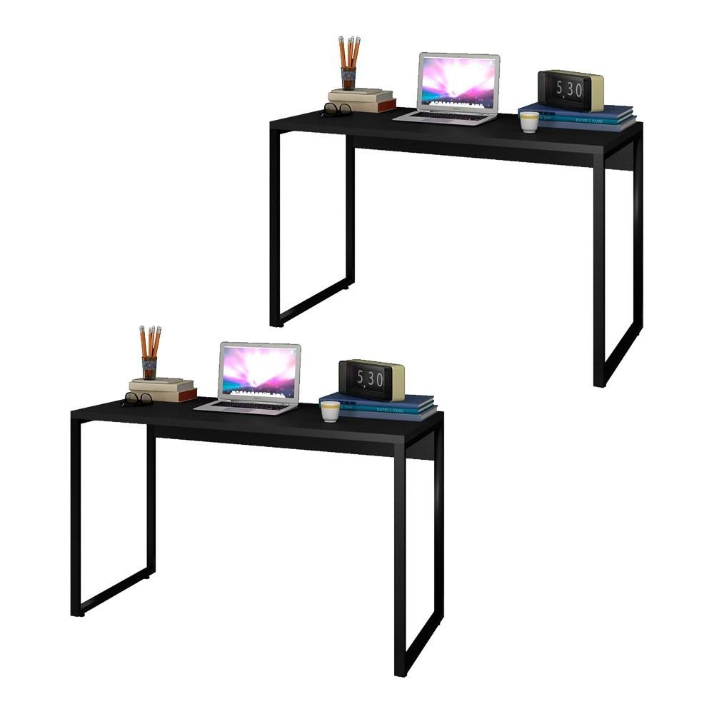 Kit 2 Escrivaninhas Mesas de Escritório Studio Industrial 120 M18 Preto - Mpozenato
