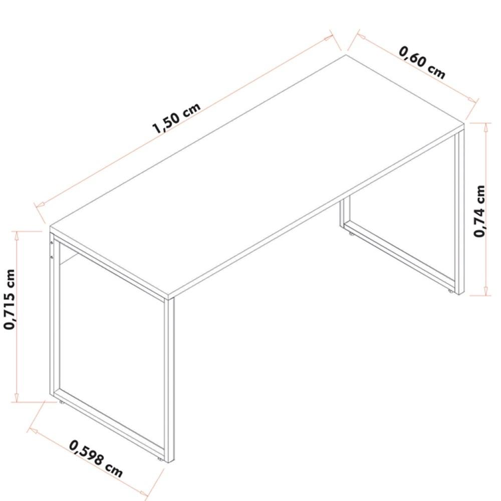 Kit 2 Escrivaninhas Mesas de Escritório Studio Industrial 150 M18 Preto - Mpozenato