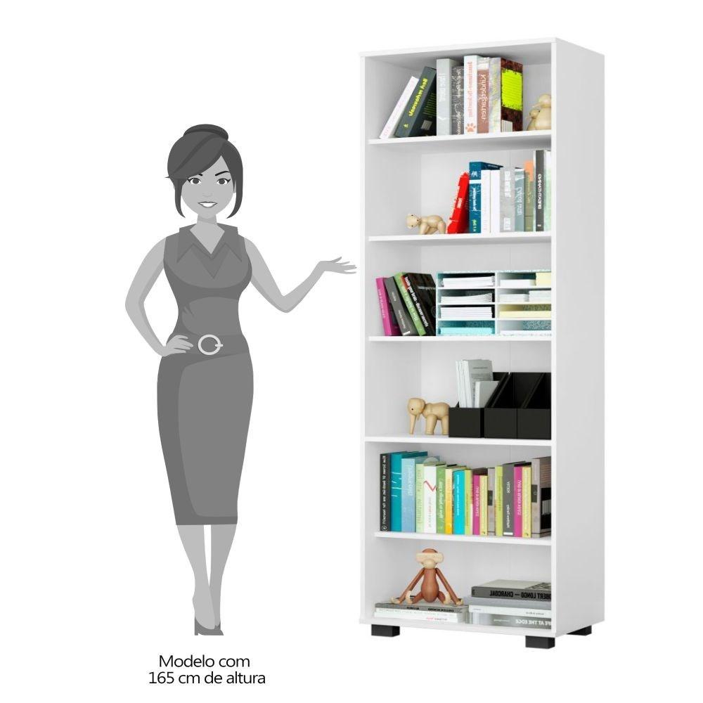 Kit 2 Estantes Livreiro Multifuncional 6 Prateleiras Office Branco - Móveis Leão