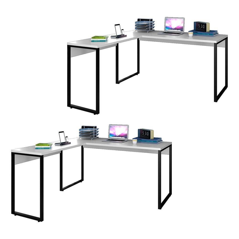 Kit 2 Mesas de Escritório em L 150x150 Studio Industrial M18 Branco - Mpozenato