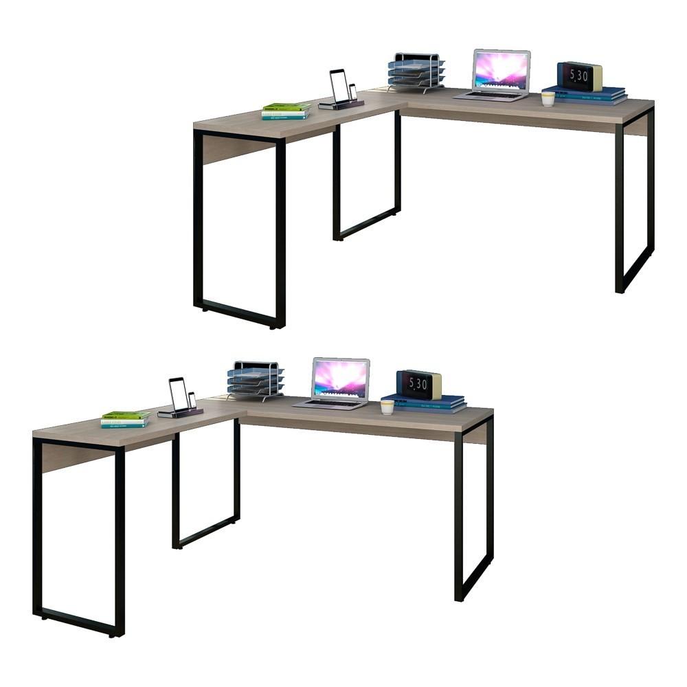 Kit 2 Mesas de Escritório em L 150x150 Studio Industrial M18 Carvalho Bruma - Mpozenato