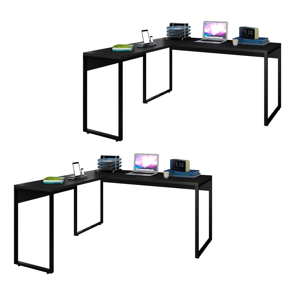 Kit 2 Mesas de Escritório em L 150x150 Studio Industrial M18 Preto - Mpozenato