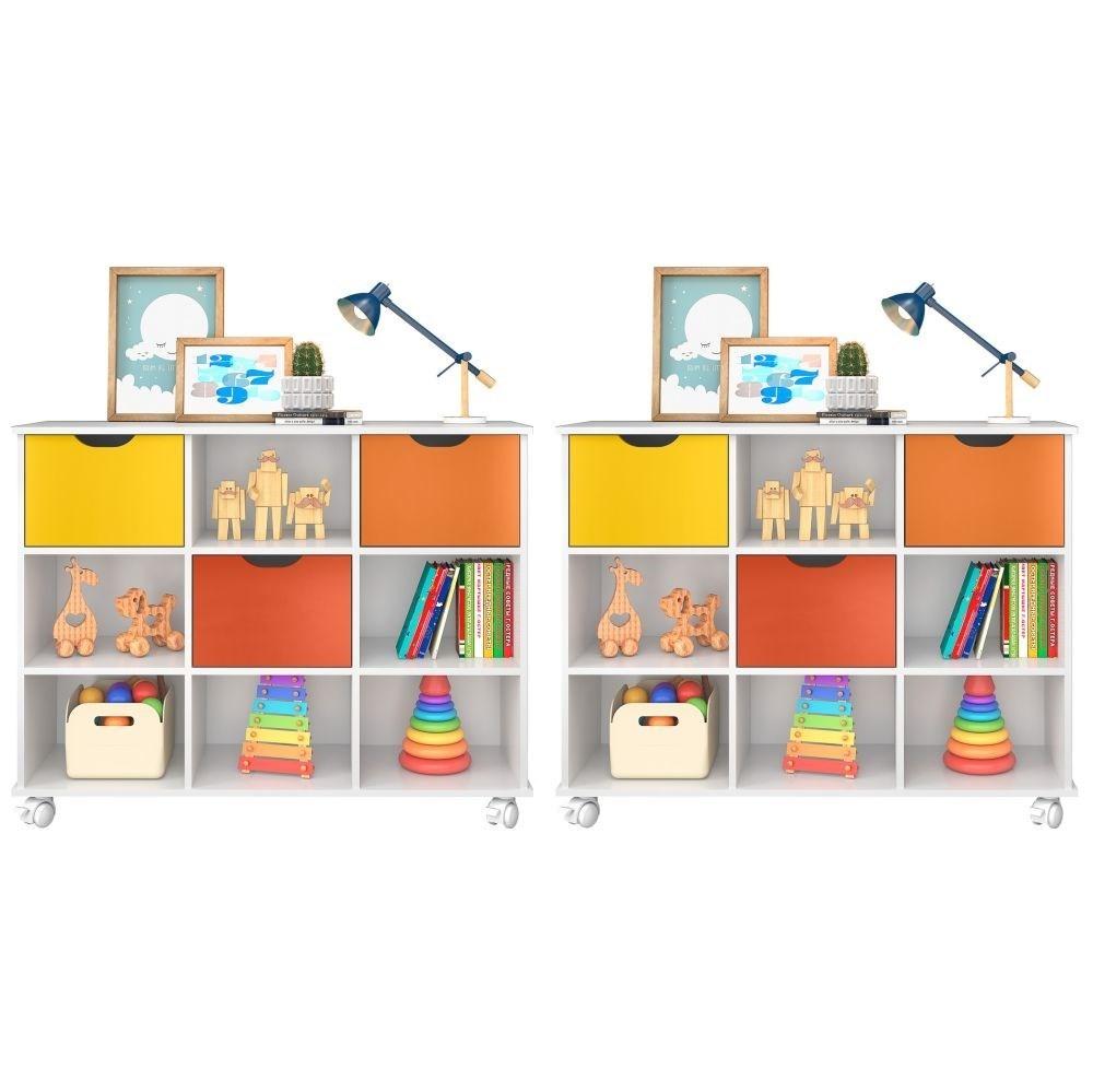 Kit 2 Nichos Organizadores com Rodízios Toys Q01 3 Gavetas Branco/Colorido - Mpozenato
