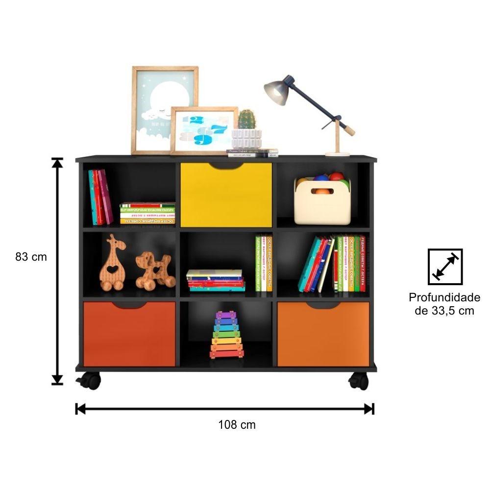 Kit 2 Nichos Organizadores com Rodízios Toys 3 Q01 Gavetas Preto/Colorido - Mpozenato