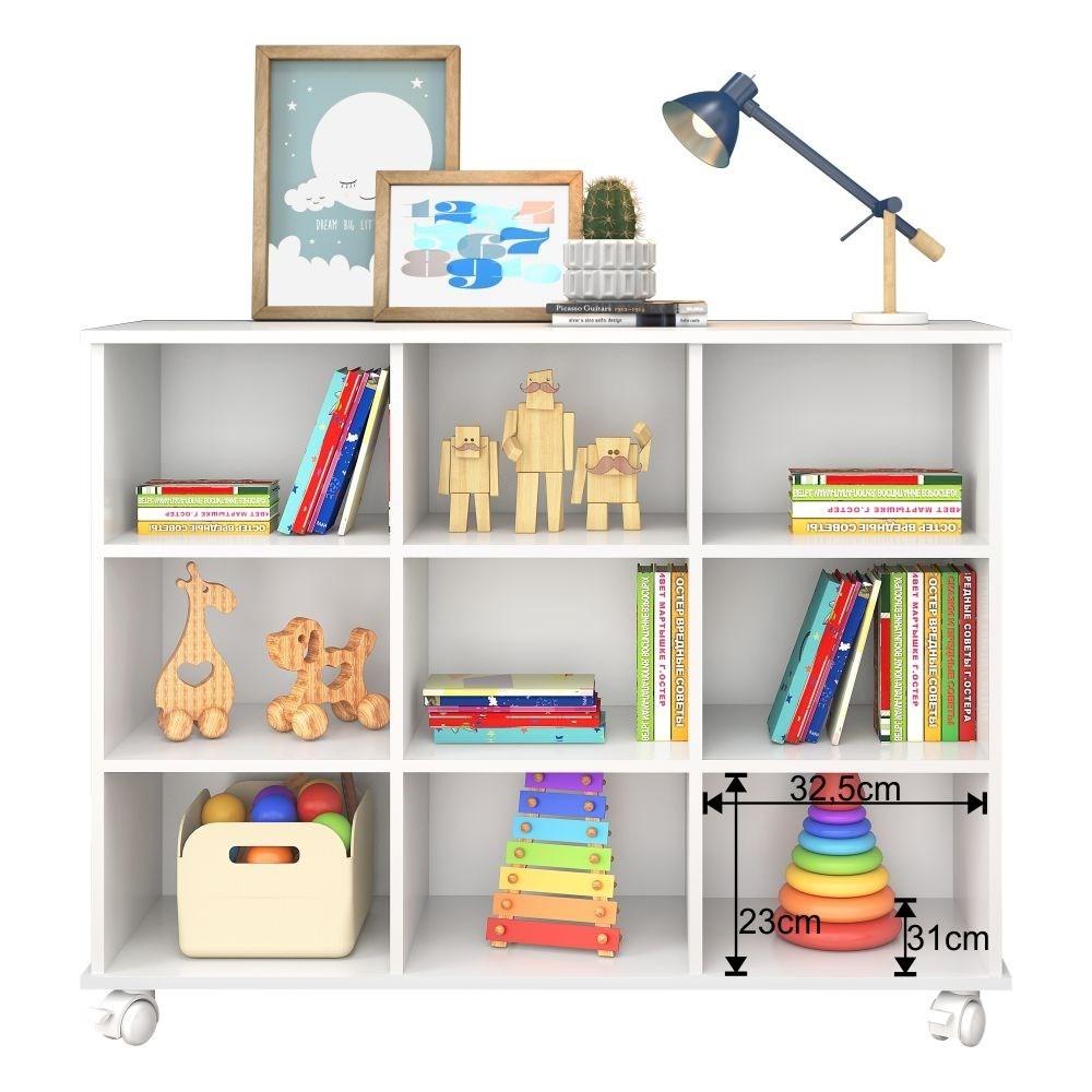 Kit 2 Nichos Organizadores com Rodízios Toys Q01 6 Gavetas Branco/Colorido - Mpozenato