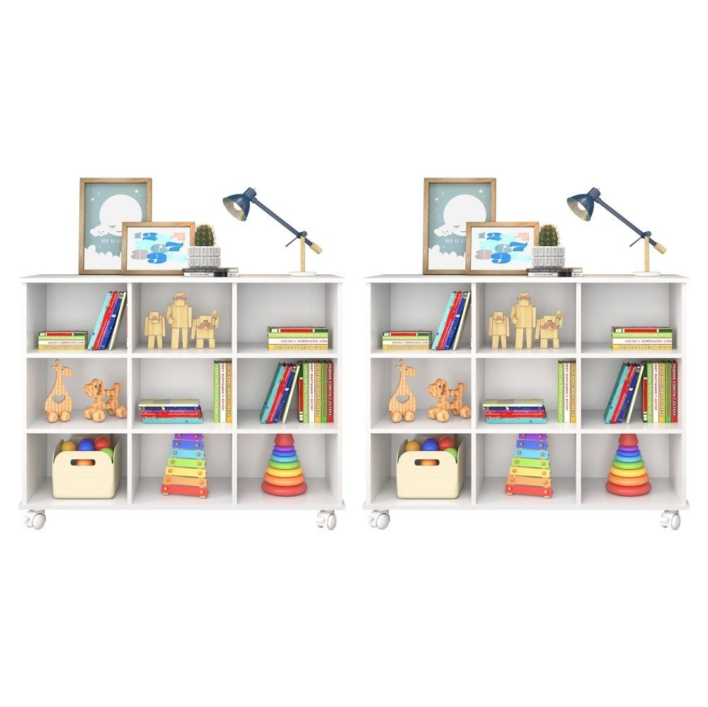 Kit 2 Nichos Organizadores Multifuncionais com Rodízios Toys Q01 Branco - Mpozenato