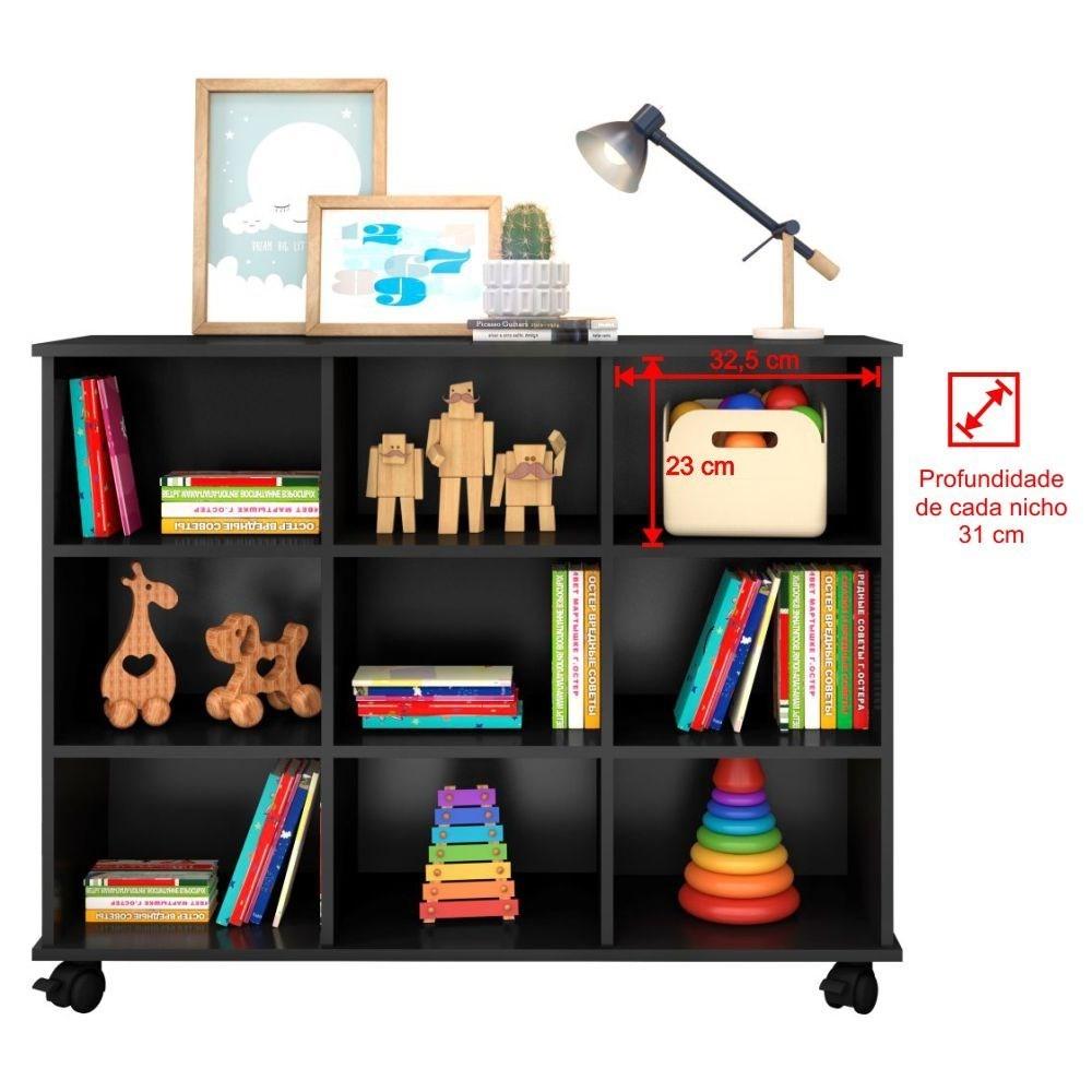 Kit 2 Nichos Organizadores Multifuncionais com Rodízios Toys Q01 Preto - Mpozenato
