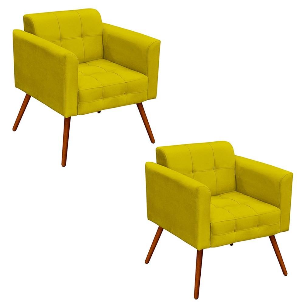 Kit 2 Poltronas Decorativas Sala de Estar Pés Palito Ana Suede Amarelo - Ibiza