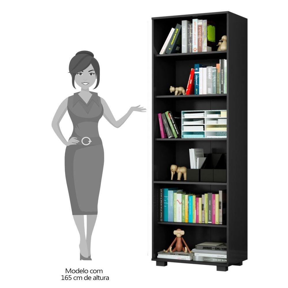 Kit 3 Estantes Livreiro Multifuncional 6 Prateleiras Office Preto - Móveis Leão