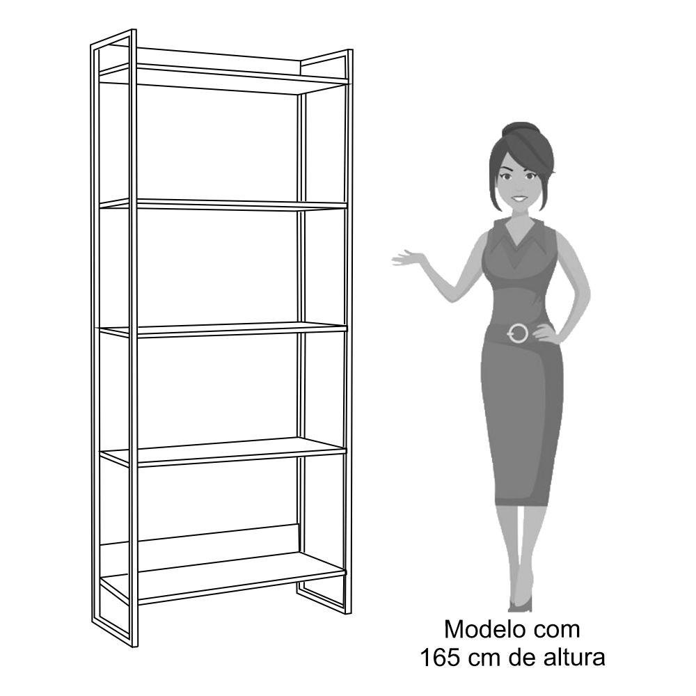 Kit 4 Estantes Livreiro Studio Industrial M18 Carvalho Bruma - Mpozenato