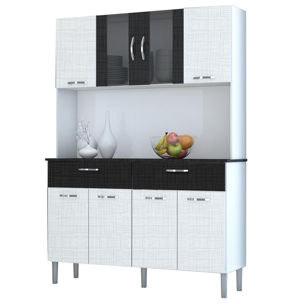 Kit Cozinha Compacta Armário Pan 08 Portas Branco/Linho Branco/CP Linho Preto - Kit's Paraná