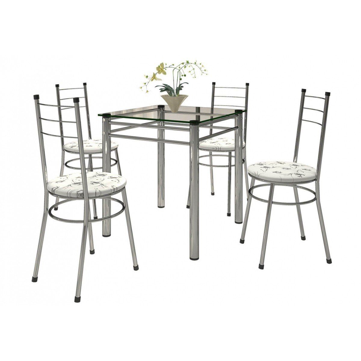 Mesa com 04 Cadeiras Tulipa Cromado - Marcheli