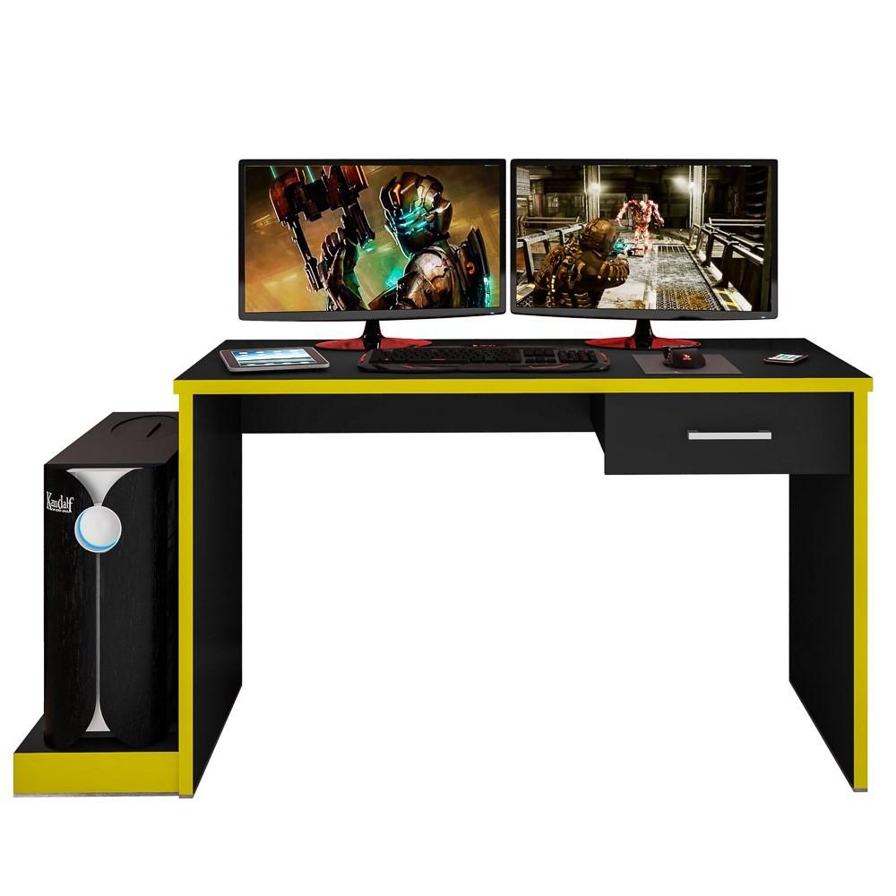 Mesa Computador PC Notebook Desk Gamer TUF DRX 9000 Preto/Amarelo - Móveis Leão