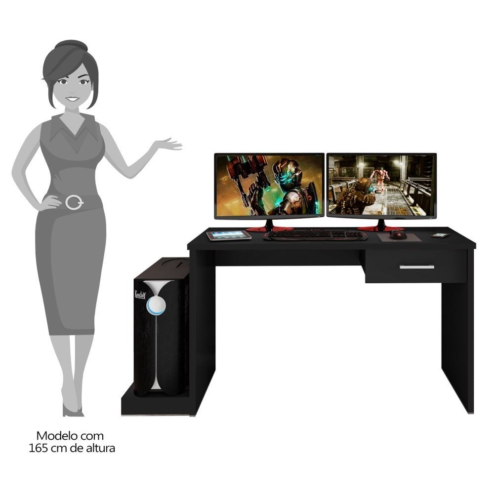 Mesa Computador PC Notebook Desk Gamer TUF DRX 9000 Preto/Vermelho - Móveis Leão