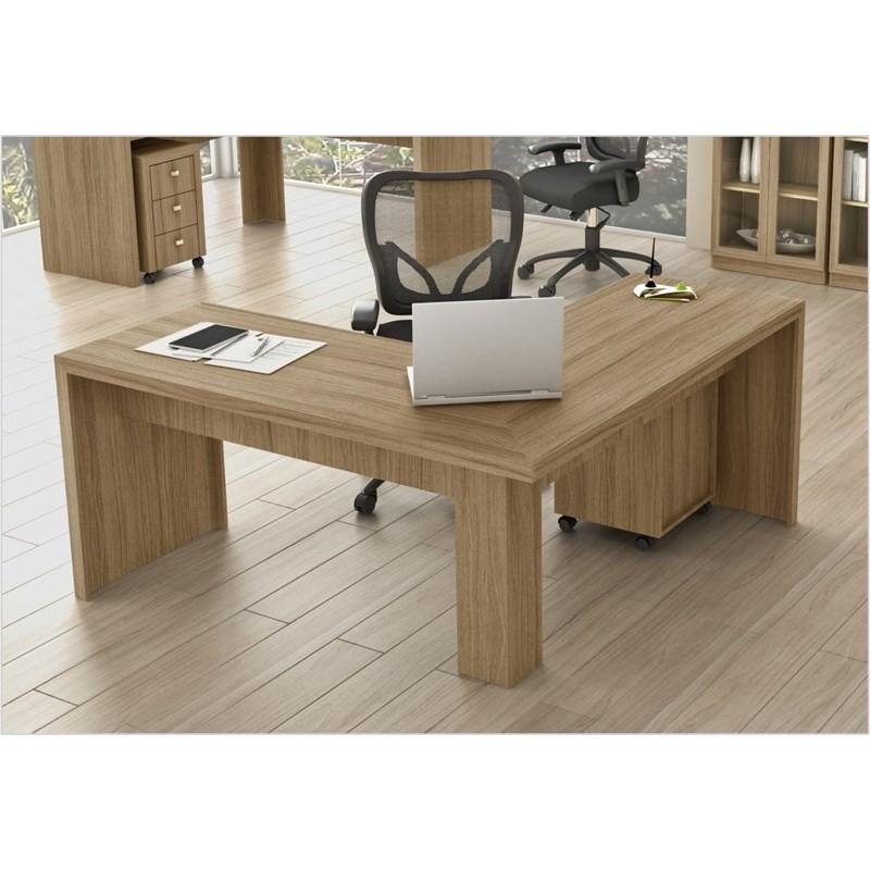 Mesa de canto para Home Office ME4116 Amendoa - Tecno Mobili