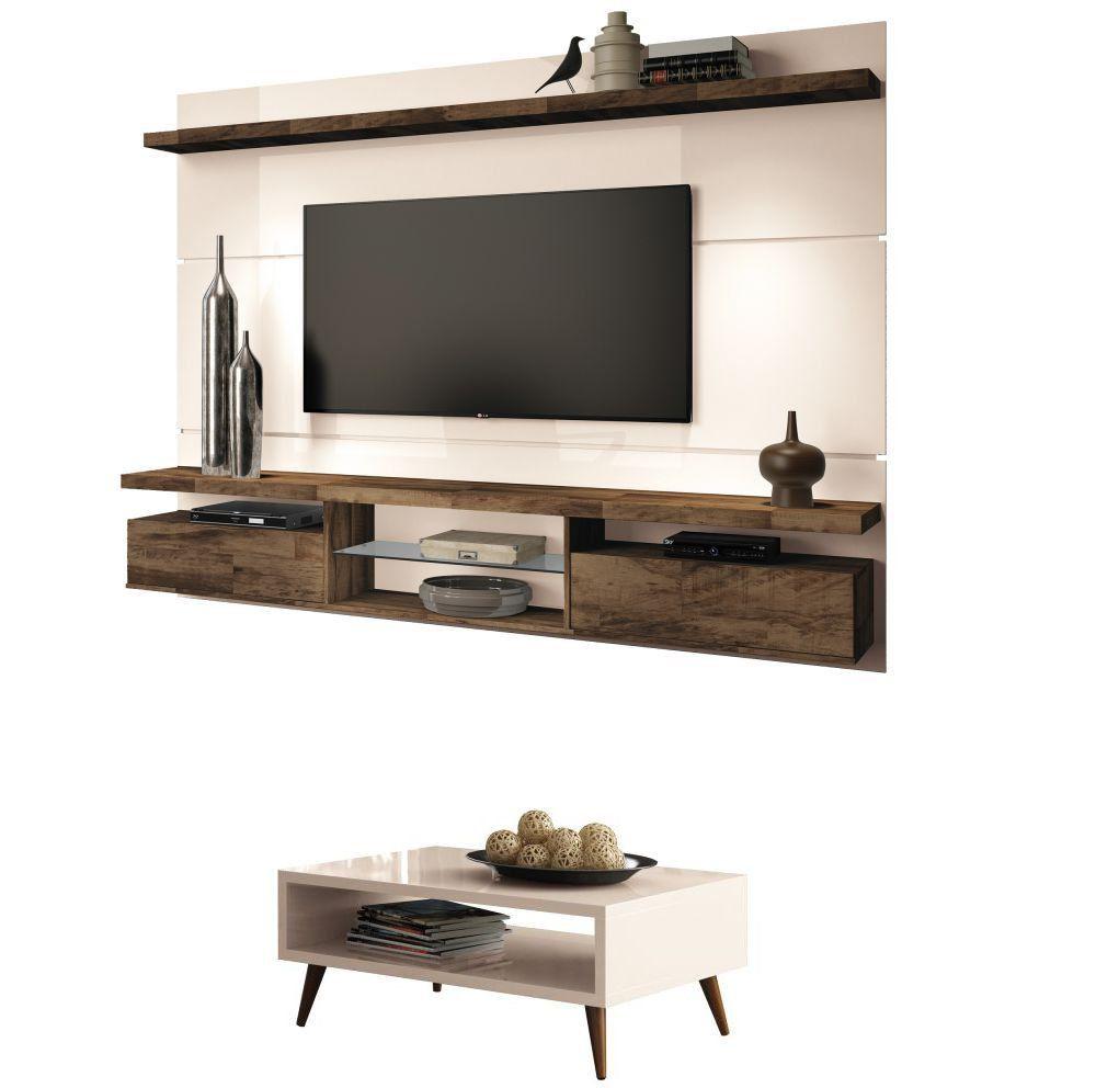 Mesa de Centro Lucy com Painel para TV Livin 2.2 - HB Moveis