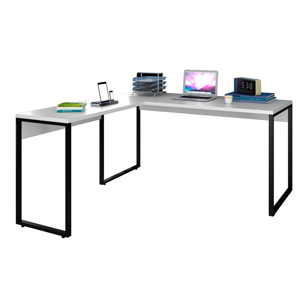 Mesa de Escritório em L 150x150 Studio Industrial M18 Branco - Mpozenato
