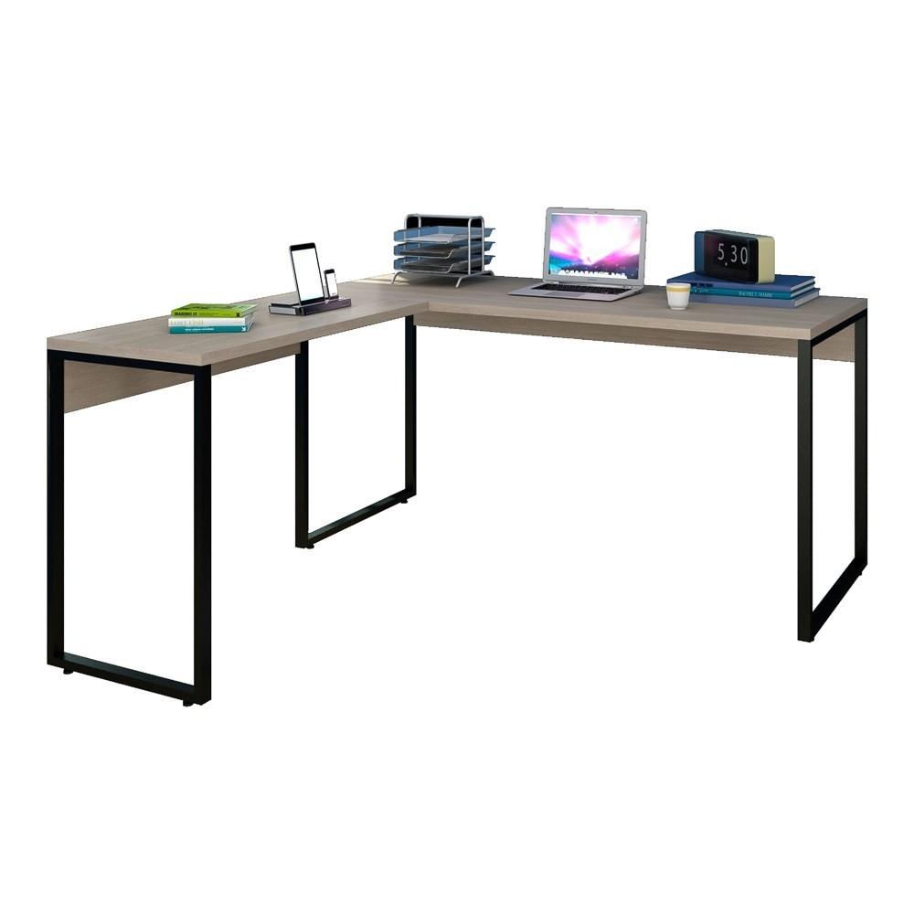 Mesa de Escritório em L 150x150 Studio Industrial M18 Carvalho Bruma - Mpozenato