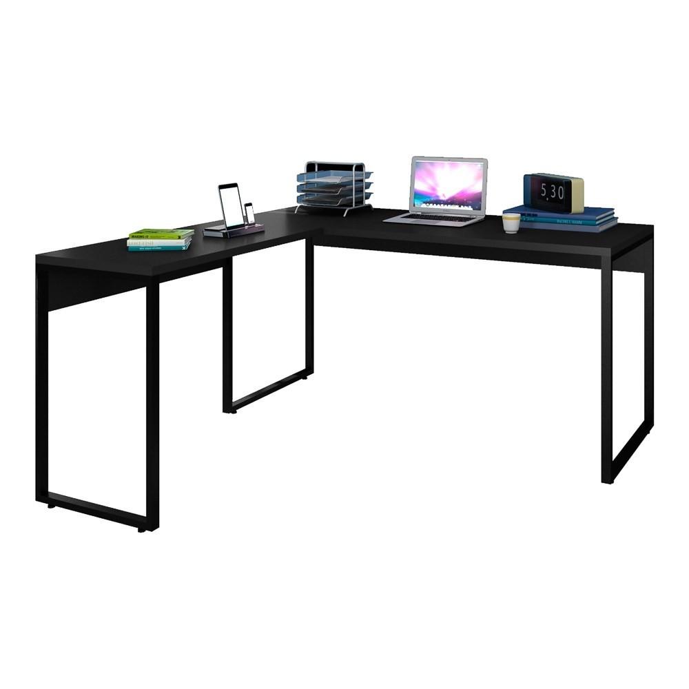 Mesa de Escritório em L 150x150 Studio Industrial M18 Preto - Mpozenato