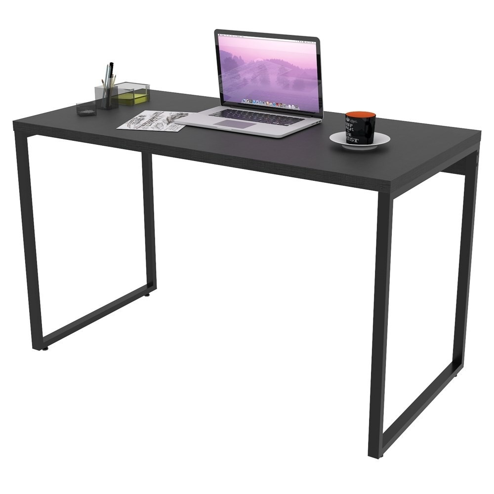 Mesa de Escritório Office 135cm Estilo Industrial Prisma C08 Preto Onix - Mpozenato