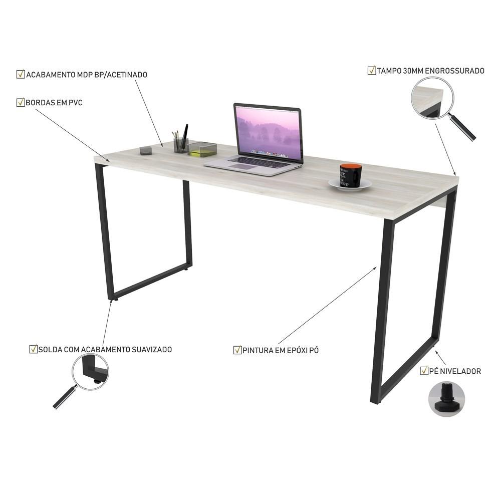 Mesa de Escritório Office 150cm Estilo Industrial Prisma C08 Snow - Mpozenato