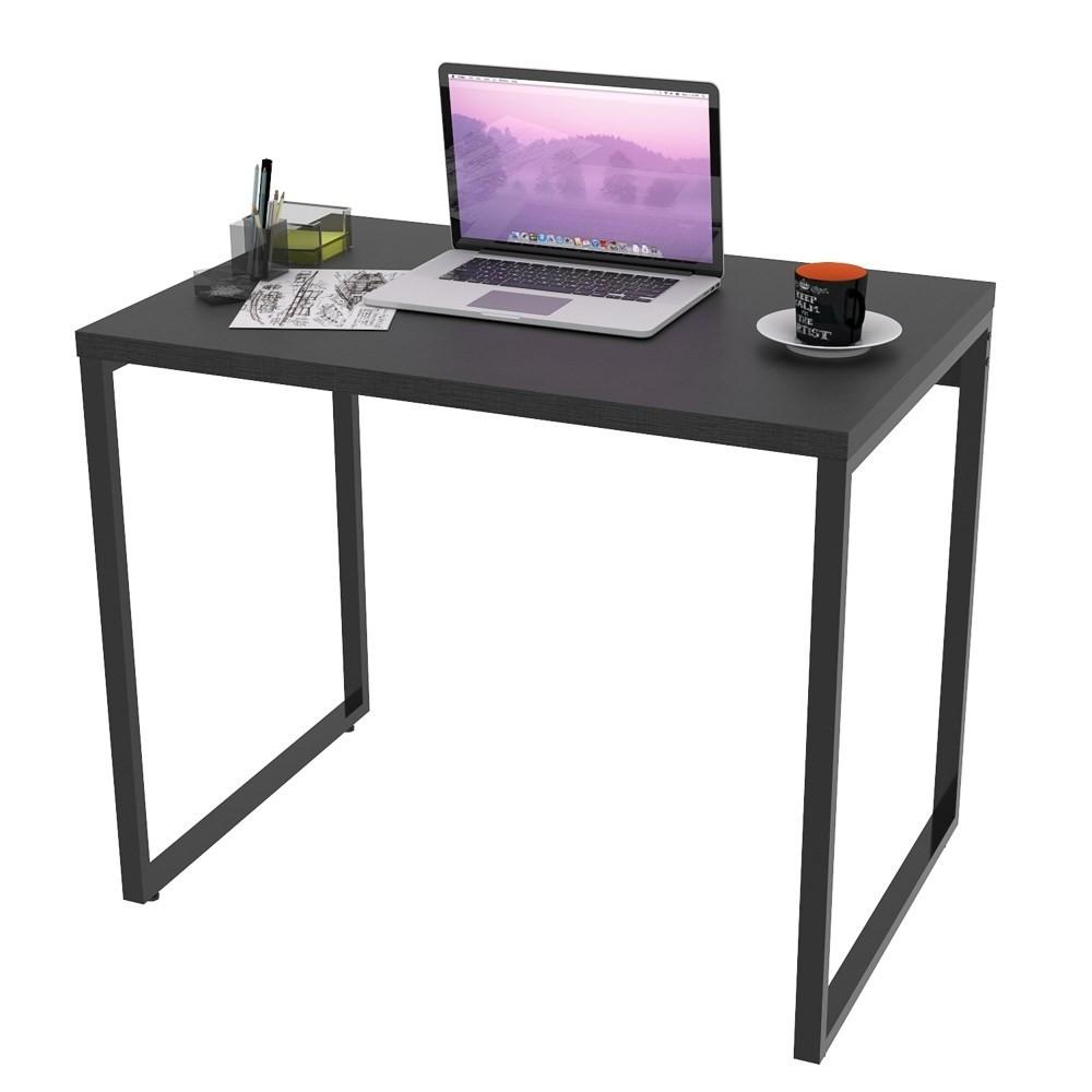 Mesa de Escritório Office 90cm Estilo Industrial Prisma Preto Onix - Mpozenato