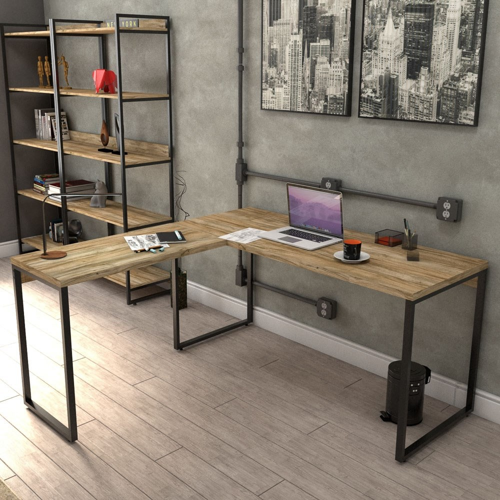 Mesa de Escritório Office em L 150x150cm Estilo Industrial Prisma C08 Carvalho - Mpozenato
