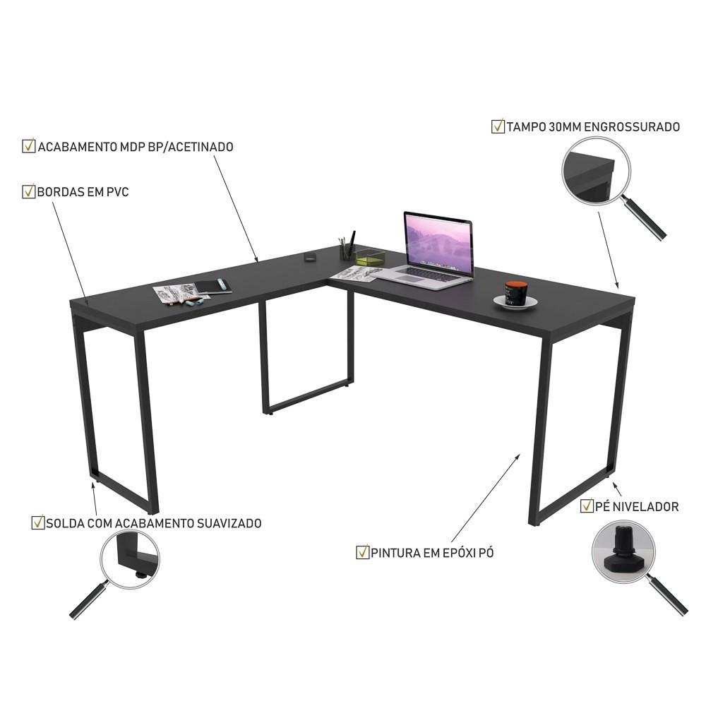 Mesa de Escritório Office em L 150x150cm Estilo Industrial Prisma C08 Preto Onix - Mpozenato