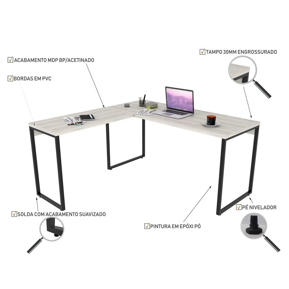 Mesa de Escritório Office em L 150x150cm Estilo Industrial Prisma C08 Snow - Mpozenato