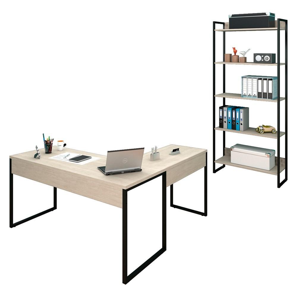 Mesa em L e Estante para Escritório Studio Industrial M18 Carvalho Bruma - Mpozenato