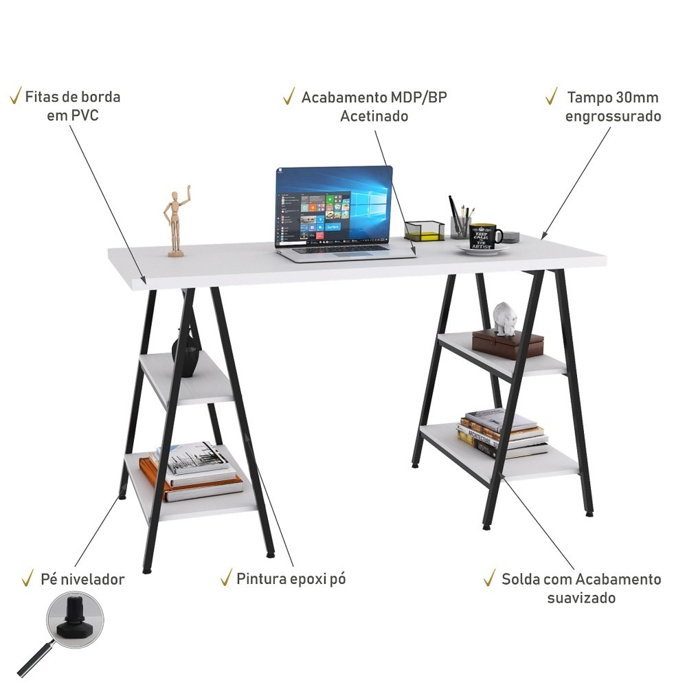 Mesa Escrivaninha Cavalete 135cm Estilo Industrial Prisma C08 Branco Chess/Preto - Mpozenato