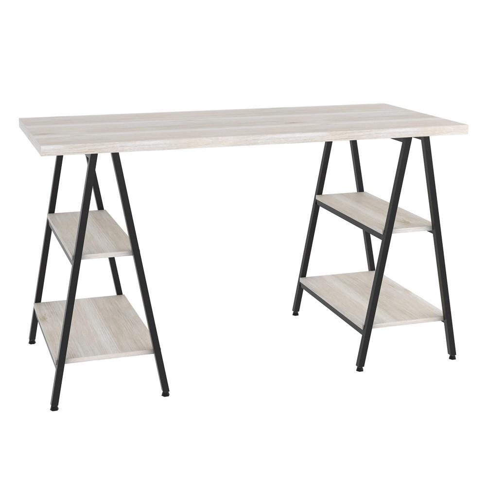 Mesa Escrivaninha Cavalete 135cm Estilo Industrial Prisma C08 Snow/Preto - Mpozenato