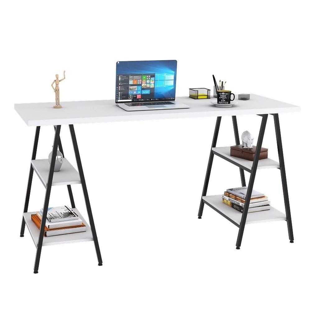 Mesa Escrivaninha Cavalete 150cm Estilo Industrial Prisma C08 Branco Chess/Preto - Mpozenato