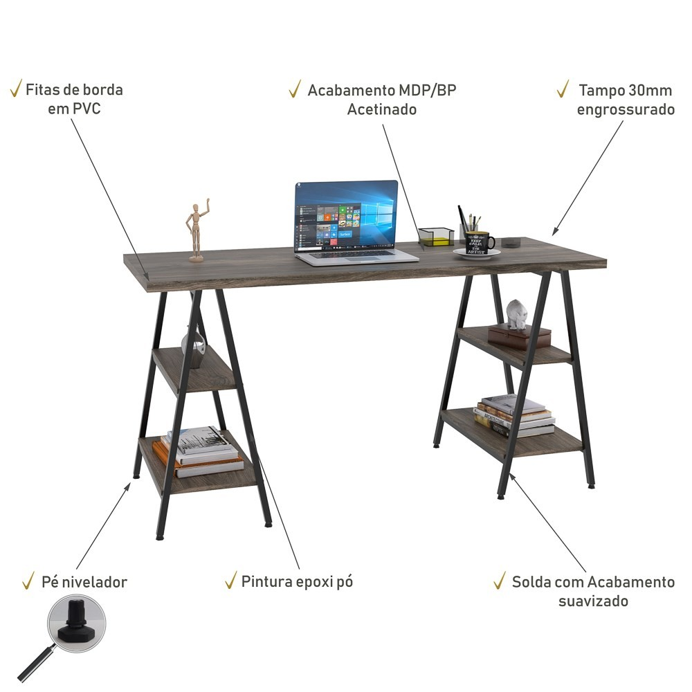 Mesa Escrivaninha Cavalete 150cm Estilo Industrial Prisma C08 Carvalho Dark/Preto - Mpozenato