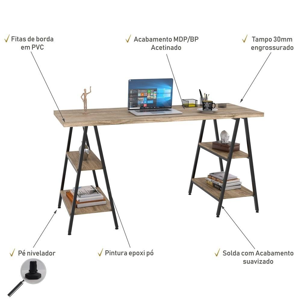 Mesa Escrivaninha Cavalete 150cm Estilo Industrial Prisma C08 Carvalho/Preto - Mpozenato