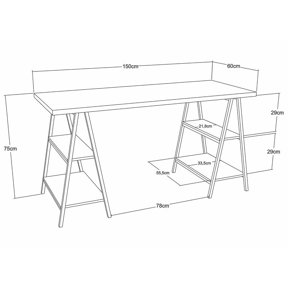 Mesa Escrivaninha Cavalete 150cm Estilo Industrial Prisma C08 Nogal/Preto - Mpozenato