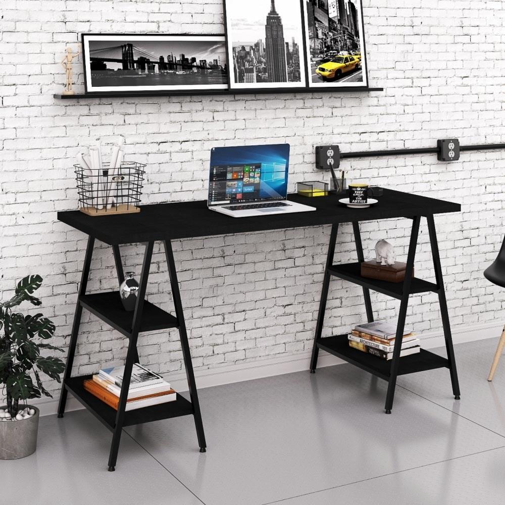 Mesa Escrivaninha Cavalete 150cm Estilo Industrial Prisma C08 Preto Ônix/Preto - Mpozenato