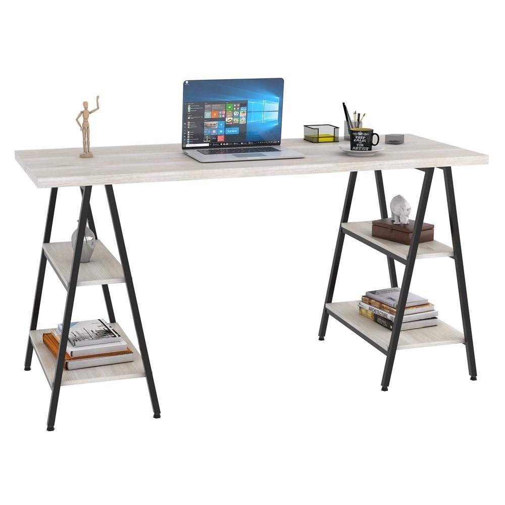 Mesa Escrivaninha Cavalete 150cm Estilo Industrial Prisma C08 Snow/Preto - Mpozenato
