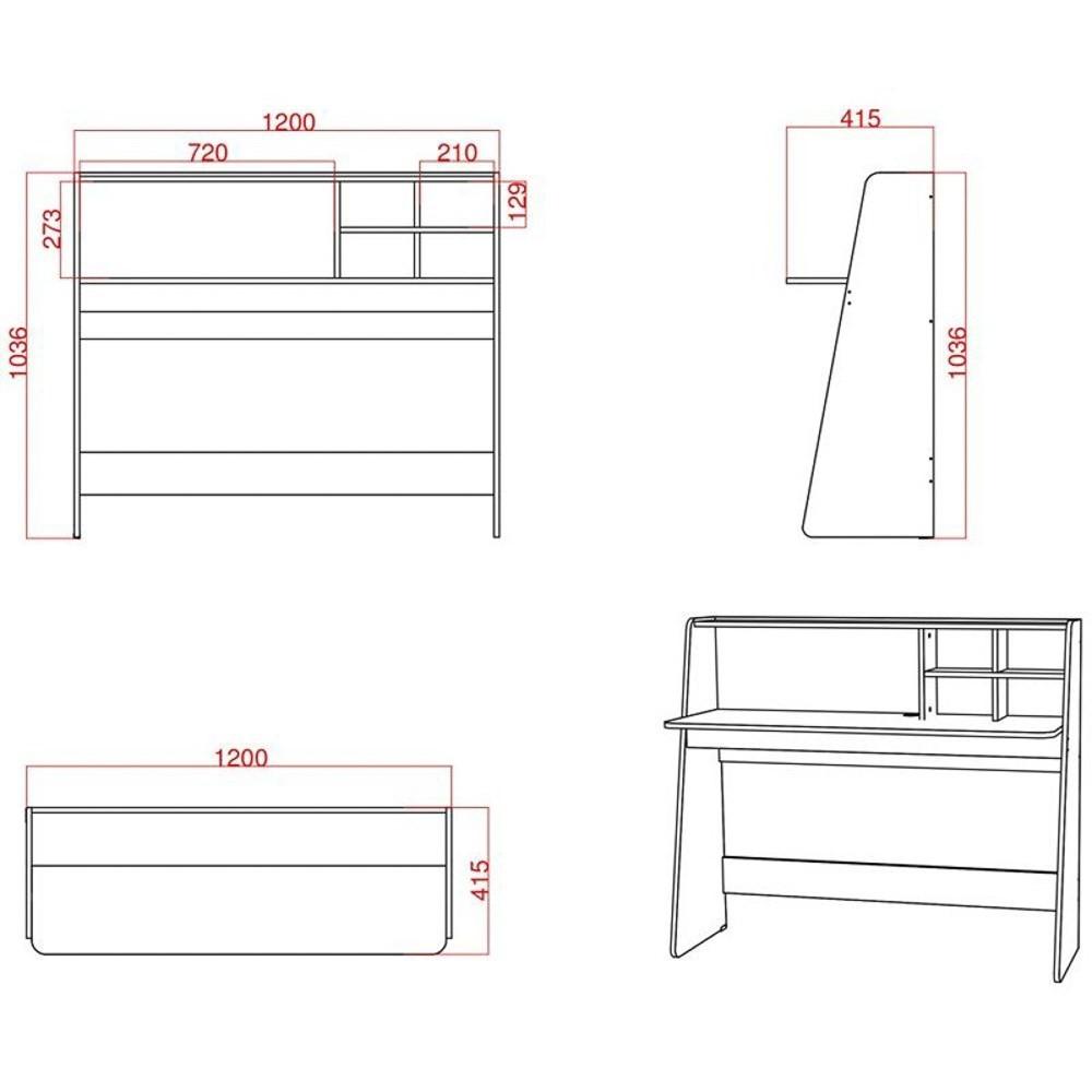 Mesa Escrivaninha Desktop PC Idealle C12 Nicho Multiuso Toys Branco e Cadeira Charles Amarela - Mpozenato