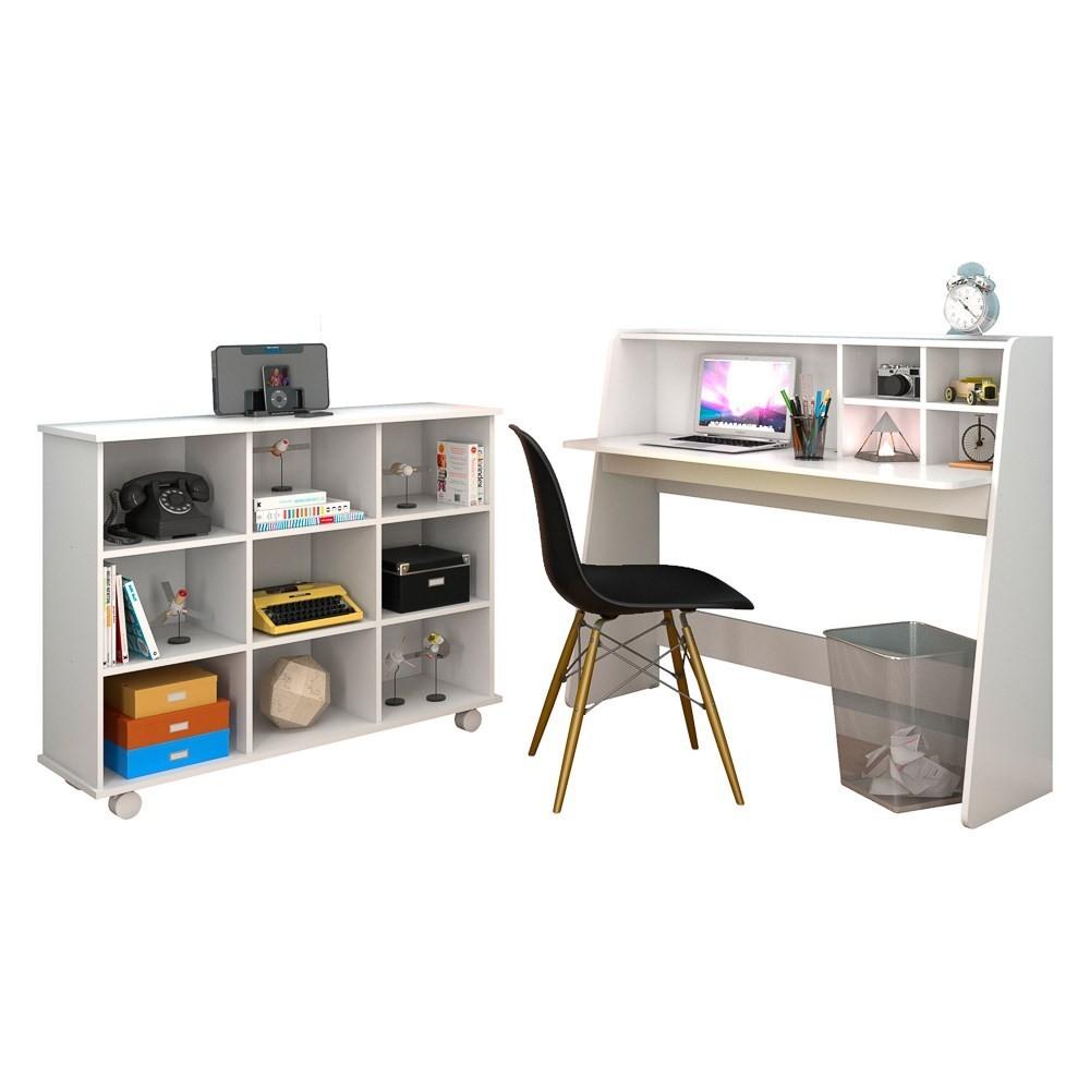 Mesa Escrivaninha Desktop PC Idealle C12 Nicho Multiuso Toys Branco e Cadeira Charles Preta - Mpozenato