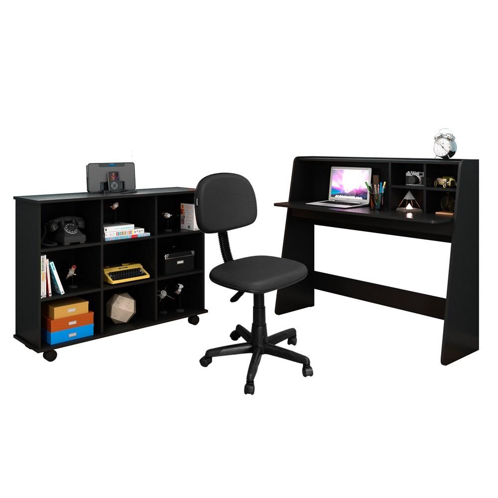 Mesa Escrivaninha Desktop PC Idealle Nicho Multiuso Toys C13 e Cadeira Giratória CS-02 Preto - Mpozenato