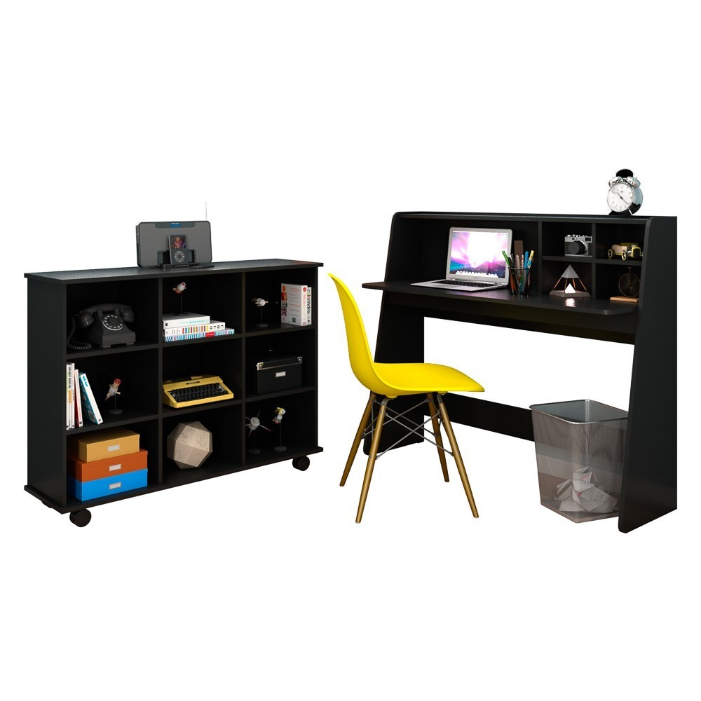 Mesa Escrivaninha Desktop PC Idealle C12 Nicho Multiuso Toys Preto e Cadeira Charles Amarela - Mpozenato