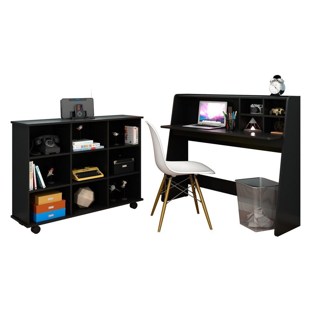 Mesa Escrivaninha Desktop PC Idealle C12 Nicho Multiuso Toys Preto e Cadeira Charles Branca - Mpozenato